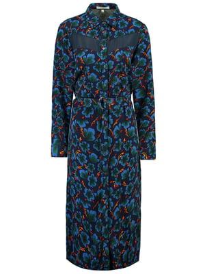 Сукня темно-синя з квітковим принтом | 5311129