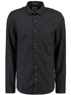 Рубашка черная с принтом | 5311142