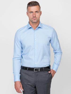Сорочка блакитна в дрібний візерунок | 5309676