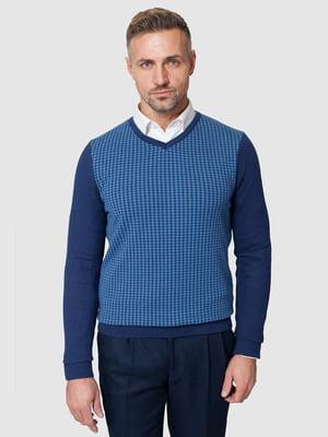 Пуловер синий в гусиную лапку | 5309731