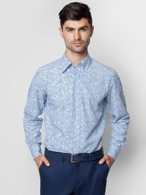 Рубашка синяя с принтом | 5310417