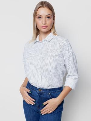 Сорочка біла у принт | 5310545