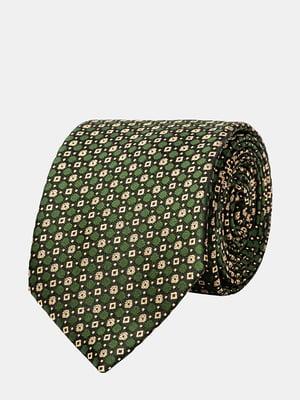 Галстук зеленый с узором | 5310826