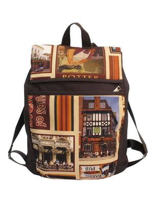 Рюкзак бордовый с принтом | 4021864