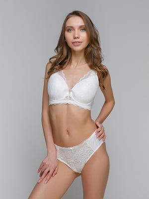 Комплект білий (бюстьє-балконет + бікіні) | 5305647