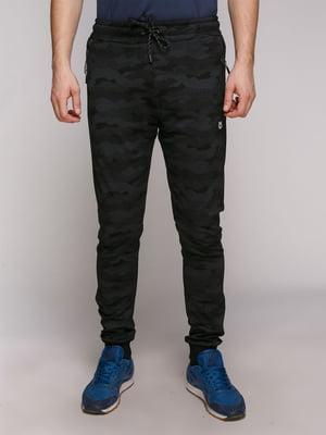 Штани спортивні чорні в камуфляжний принт | 5305983