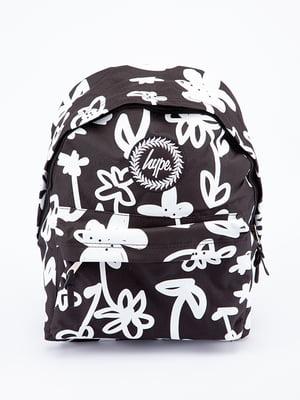 Рюкзак чорний в принт | 5314313