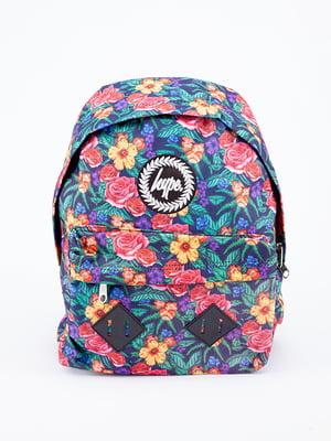 Рюкзак синий в цветочный принт | 5314356