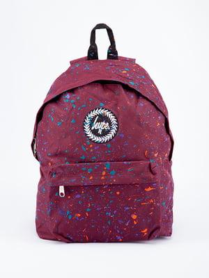 Рюкзак бордовий в принт | 5314372