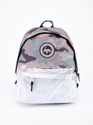 Рюкзак біло-сірий в принт | 5314375