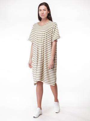 Сукня молочного кольору в смужку | 5314474