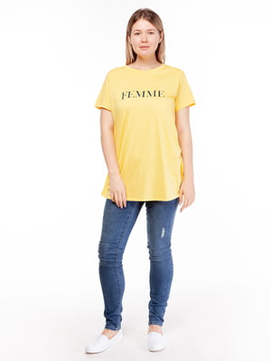 Футболка жовта з принтом | 5314551