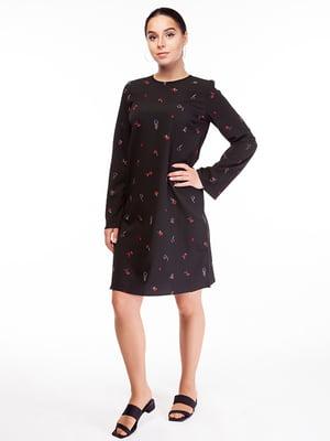 Сукня чорна в принт | 5314675