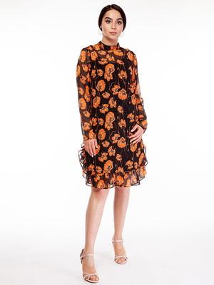 Сукня чорна в принт | 5314700