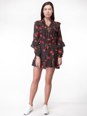Сукня чорна в квітковий принт | 5314768