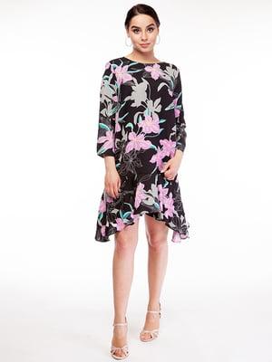 Сукня чорна в квітковий принт | 5314769