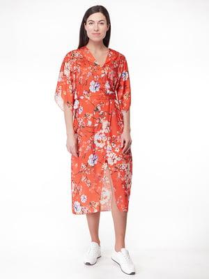 Сукня помаранчева в квітковий принт | 5314772