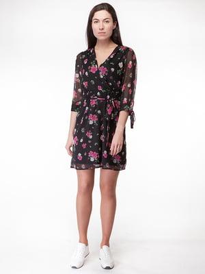 Платье черное в цветочный принт | 5314927