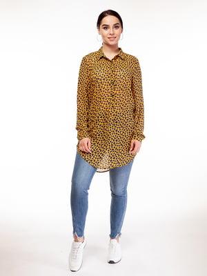 Рубашка горчичного цвета в принт | 5315196