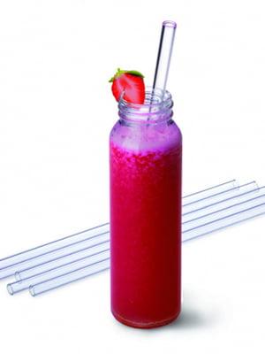 Набір скляних трубочок для напоїв (23 см; 6 + 1) | 5306541