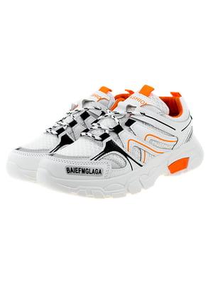 Кроссовки бело-оранжевые | 5318565