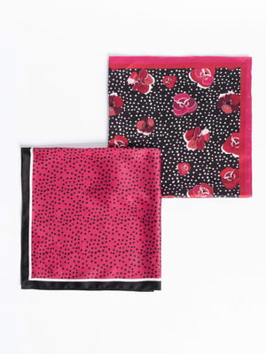 Платок розовый в цветочный принт | 5318810
