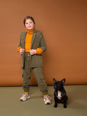 Жакет вельветовый болотно-зеленого цвета   5318949