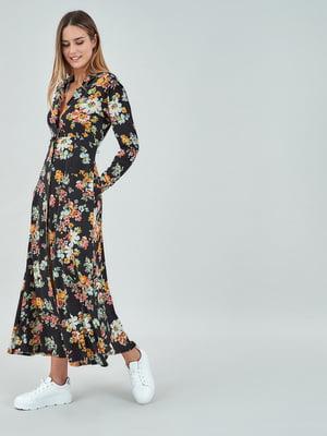 Сукня чорна з квітковим принтом | 5319667