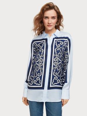 Рубашка голубая с принтом | 5319835