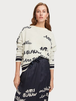 Джемпер бело-черный с надписями | 5319836
