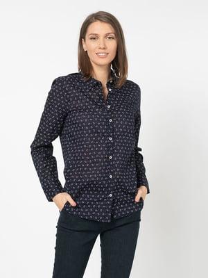 Рубашка темно-синяя с принтом | 5321125