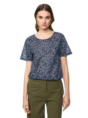 Блуза синяя в принт | 5321129
