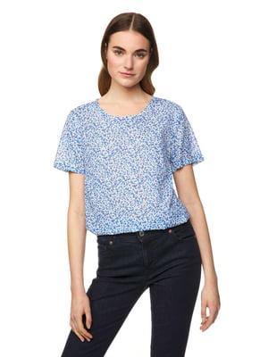 Блуза голубая в принт | 5321130