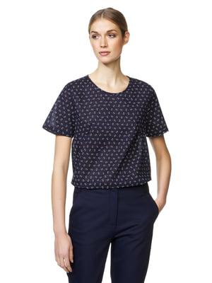 Блуза синяя в принт | 5321131