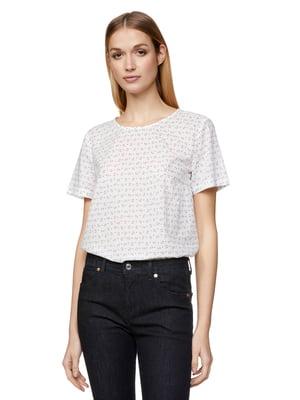 Блуза белая в принт | 5321132