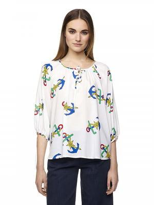 Блуза молочного цвета в принт | 5321135