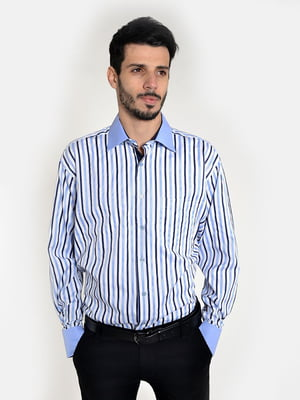 Рубашка бело-голубая | 5322421