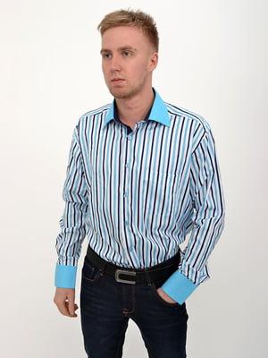 Рубашка бело-голубая | 5322422