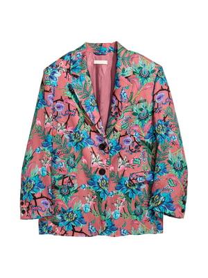 Жакет рожевий з квітковим принтом | 5323877