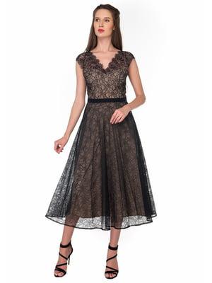 Платье черно-бежевое | 5324734