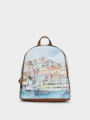 Рюкзак голубой с принтом | 5325483