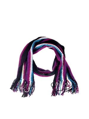 Шарф фіолетовий в смужку | 5326579