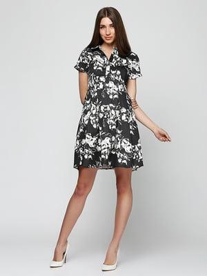 Сукня чорна в принт | 5325905