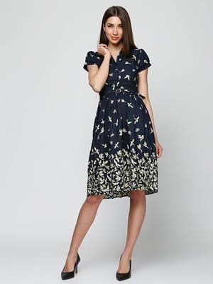 Сукня темно-синя в принт | 5325941