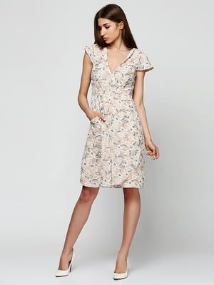 Сукня бежева в принт | 5326129