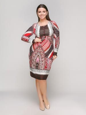 Сукня коричнево-червона   5316988