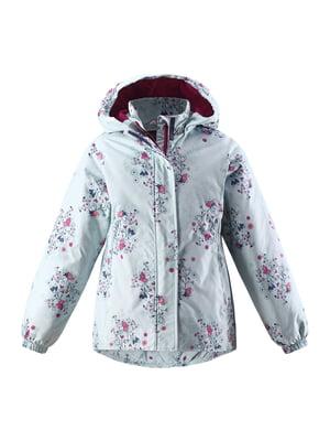 Куртка бірюзова в квітковий принт | 5328890