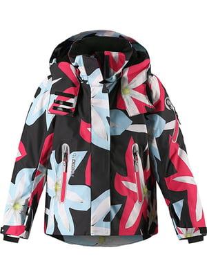 Куртка черная в цветочный принт   5328980
