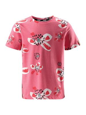 Футболка розовая в цветочный принт | 5329001