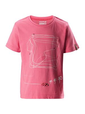 Футболка розовая в принт | 5329477
